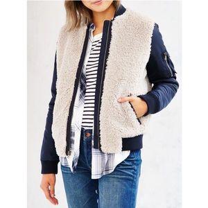 LEVI'S - Sherpa Varsity jacket Blue Grey, S